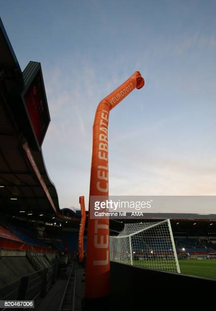 Inflatable tubes saying Let's celebrates during the UEFA Women's Euro 2017 match between Germany and Italy at Koning Willem II Stadium on July 21...