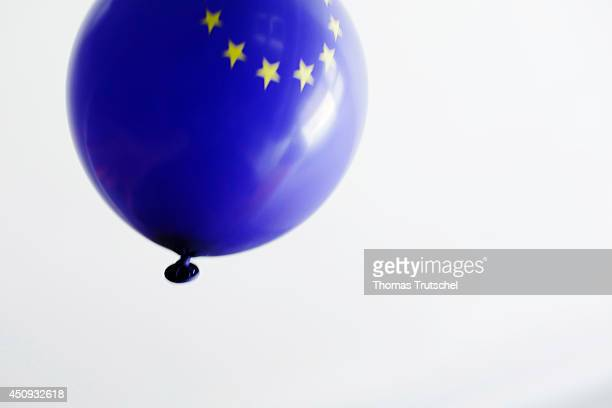 Inflated balloon with the stars of the European Union flying through the air on June 16 in Berlin Germany