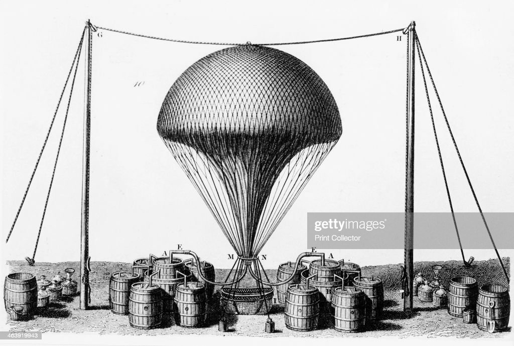 Inflating a hydrogen balloon 1845 Hydrogen is produced by covering barrels of iron filings with sulphuric acid The gas is then fed into the balloon