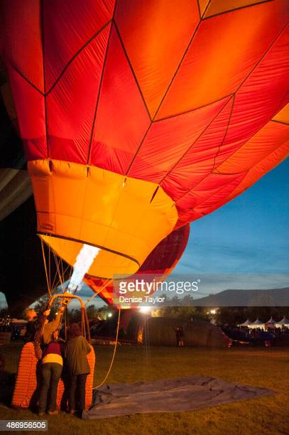 Inflating hot air balloon