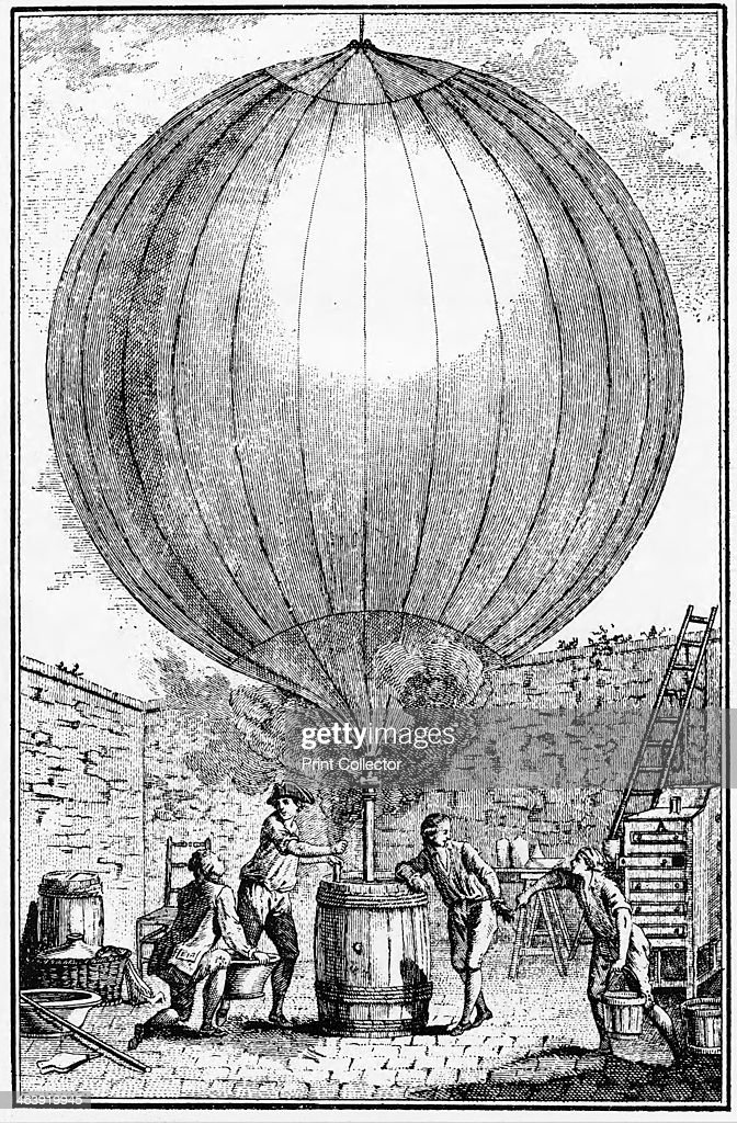 Inflation of Charles and the Robert brothers' hydrogen balloon 1783 Jean and Noel Robert helping Jacques Charles to inflate the balloon with hydrogen...