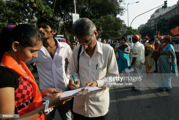 Inflation Protests BJP held a signature campaign against Central Govt for Price Rise in country at CST rly Station in Mumbai on Tuesday