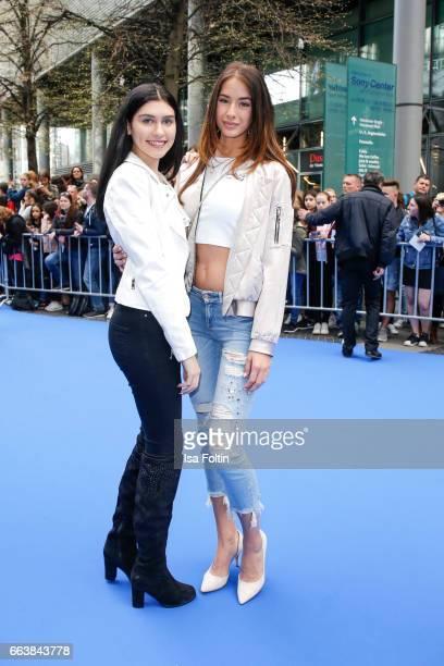 Influencer and youtubestar Ana Lisa Kohler with model and influencer Brenda Huebscher during the 'Die Schluempfe Das verlorene Dorf' premiere at Sony...