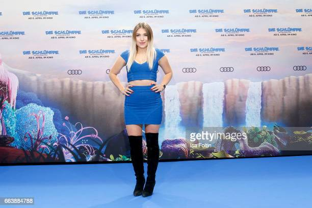 Influencer and youtubestar Bianca Heinicke alias Bibi during the 'Die Schluempfe Das verlorene Dorf' premiere at Sony Centre on April 2 2017 in...