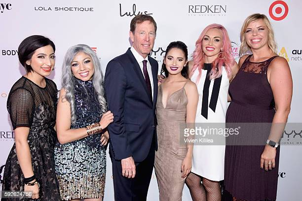 Influencer Charisma Star CEO of NYX Cosmetics Scott Friedman finalist Laura Sanchez host Kandee Johnson and Senior Vice President Marketing Global...