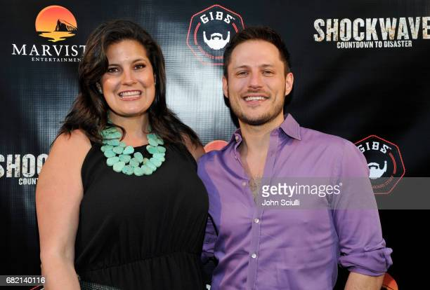 Influencer Dawn McCoy and Director/Producer Jake Helgren attend the premiere of MarVista Entertainment's 'Shockwave' at Laemmle's Music Hall 3 on May...