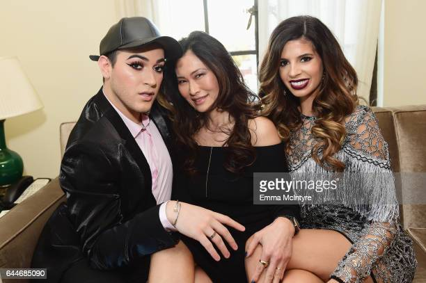 Influencer Manny Gutierrez host SunHee Grinnell and influencer Laura Lee atten Vanity Fair and Lancome Paris Beauty Suite at Chateau Marmont on...