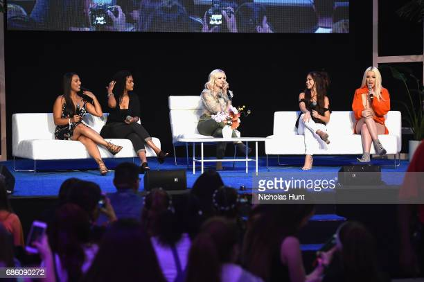 Influencer Natalie Alzate Beauty Blogger Alba Ramos Actress Dove Cameron Influencer Vivian VoFarmer and Influencer Tana Mongeau speak onstage during...