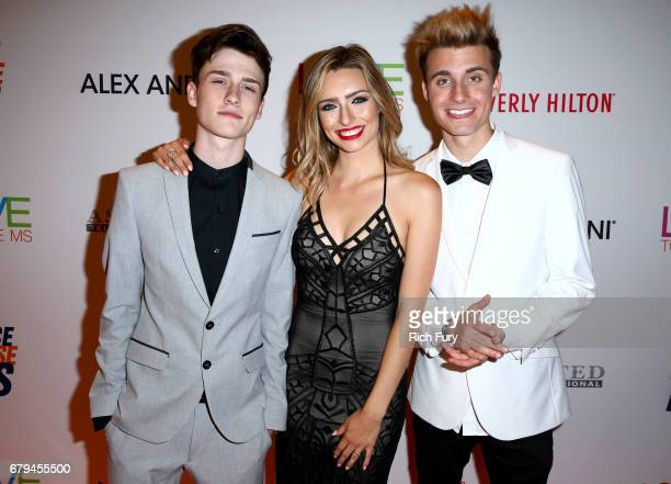 Influencers Crawford Collins Kirsten Collins and Christian Collins attends the 24th Annual Race To Erase MS Gala at The Beverly Hilton Hotel on May 5...