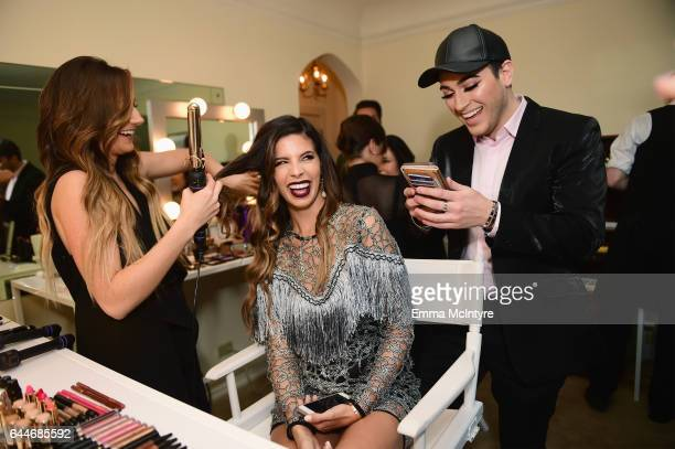 Influencers Laura Lee and Manny Gutierrez attend Vanity Fair and Lancome Paris Beauty Suite at Chateau Marmont on February 23 2017 in Los Angeles...