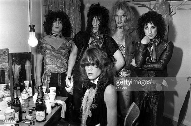 Influential American glam rock band the New York Dolls David Johannson front Jerry Nolan Johnny Thunders Killer Kane and Sylvain Sylvain pose in a...