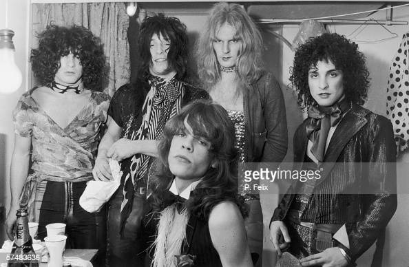 Influential American glam rock band the New York Dolls in their dressing room 30th October 1972 Standing left to right Jerry Nolan Johnny Thunders...