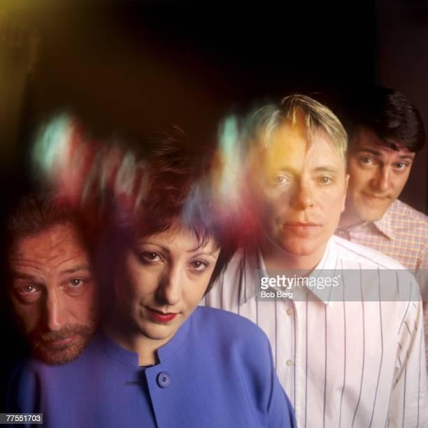 Influential British rockers New Order bassist Peter Hook keyboardist Gillian Gilbert lead vocalist/guitarist Bernard Sumner and drummer Stephen...