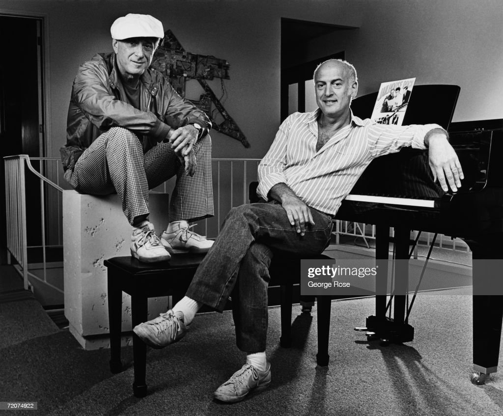 Influential songwriters and music producers, Jerry Leiber (left) and Mike Stoller, pose during a 1980 Beverly Hills, California, photo portrait session. Leiber and Stoller wrote some of pop's most enduring songs including, 'Stand By Me,' 'Kansas City,' and 'On Broadway.'