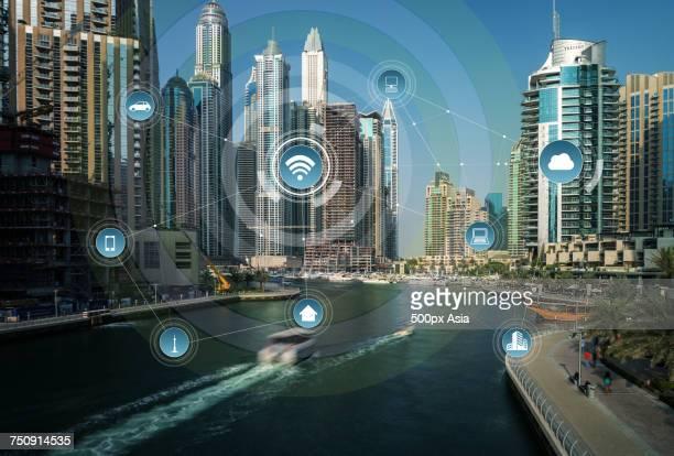 'Infographic against city background, Dubai'