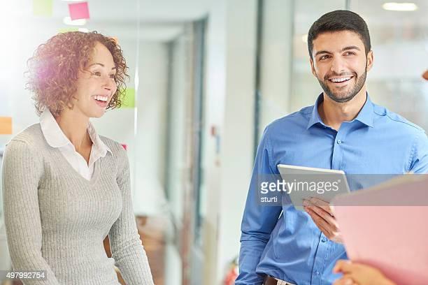 informal co-worker business meeting