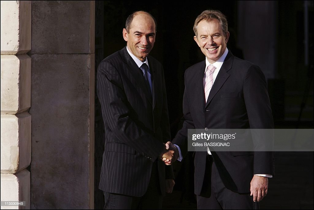 Informal Meeting Of European Union Heads Of State/Government - On October 27Th, 2005 - In Hampton Court, United Kingdom - Here, <a gi-track='captionPersonalityLinkClicked' href=/galleries/search?phrase=Janez+Jansa&family=editorial&specificpeople=566150 ng-click='$event.stopPropagation()'>Janez Jansa</a>, Prime Minister Of The Republic Of Slovenia And British Prime Minister <a gi-track='captionPersonalityLinkClicked' href=/galleries/search?phrase=Tony+Blair&family=editorial&specificpeople=118622 ng-click='$event.stopPropagation()'>Tony Blair</a>.