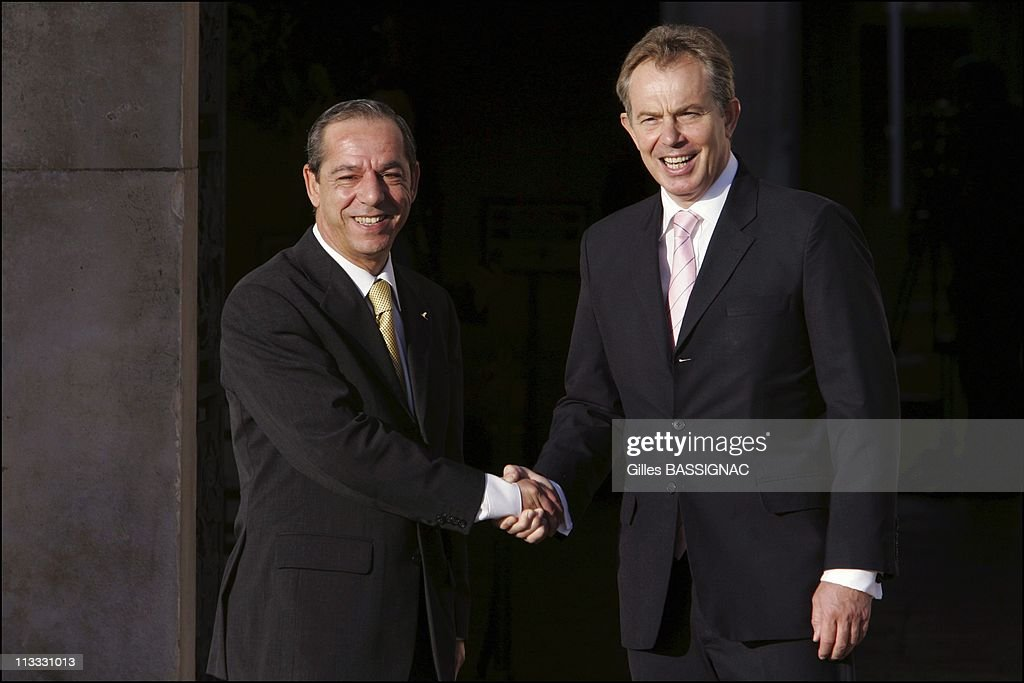 Informal Meeting Of European Union Heads Of State/Government - On October 27Th, 2005 - In Hampton Court, United Kingdom - Here, <a gi-track='captionPersonalityLinkClicked' href=/galleries/search?phrase=Lawrence+Gonzi&family=editorial&specificpeople=568017 ng-click='$event.stopPropagation()'>Lawrence Gonzi</a>, Prime Minister Of The Republic Of Malta And British Prime Minister <a gi-track='captionPersonalityLinkClicked' href=/galleries/search?phrase=Tony+Blair&family=editorial&specificpeople=118622 ng-click='$event.stopPropagation()'>Tony Blair</a>.