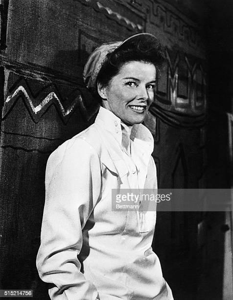 Informal portrait of Katharine Hepburn wearing a baseball cap Undated photograph circa 1950