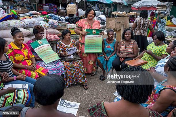 Informal workers Makola Market association meeting led by Juliana Brown Afari at Makola market August 13 2015 in Accra Ghana