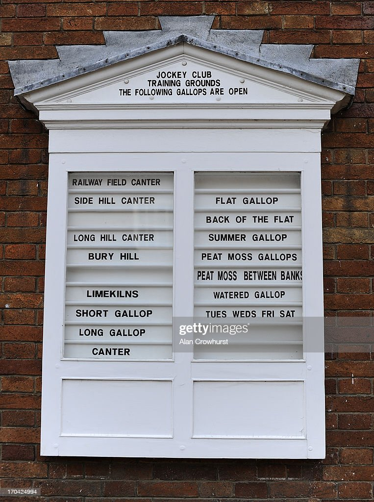 Information about the gallops hangs on the Jockey Club wall on June 13, 2013 in Newmarket, England.