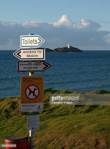 Information and direction signs by the beach Gwithian Cornwall UK