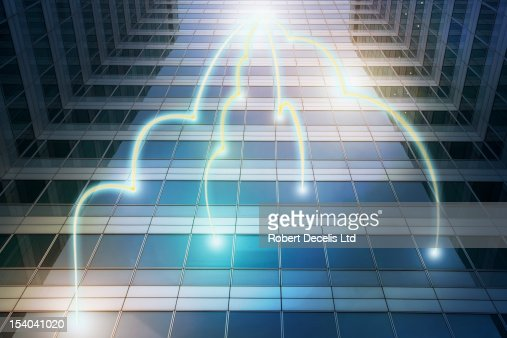Information being shared within a building : Stock Photo