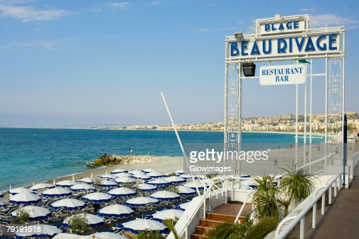 Information board at a restaurant on the beach, Nice, France : Foto de stock