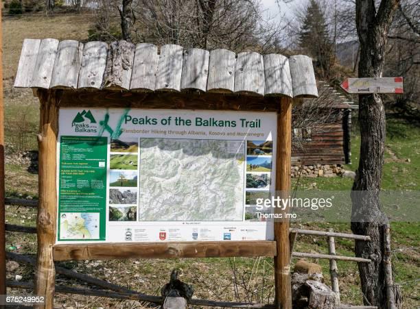 Information board Balkan Trail on March 30 2017 in Peja Kosovo