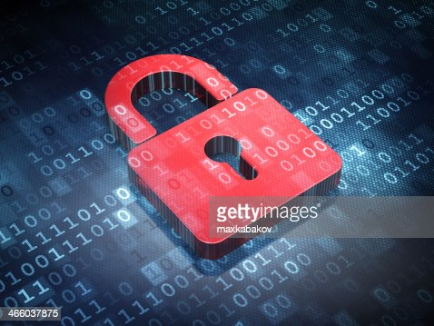 Information concept: Red Closed Padlock on digital background : Stock Photo
