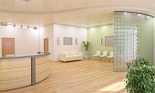 Information Desk and Lobby Interior Design (3d render)