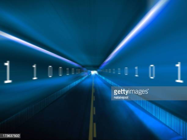 Information highway with binary code on blue