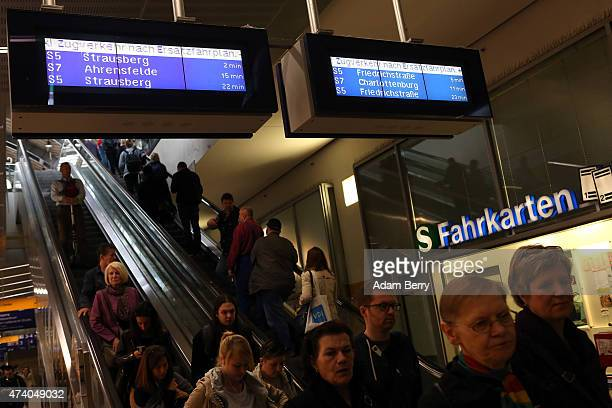 Information panels inform passengers of service disruptions at Alexanderplatz train station during a train strike on May 20 2015 in Berlin Germany...