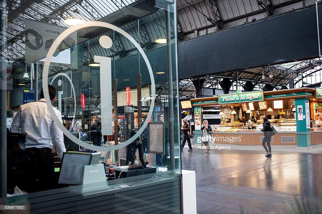 Information point at Paris Gare de l'Est Train Station, Paris, France on May 31, 2016.