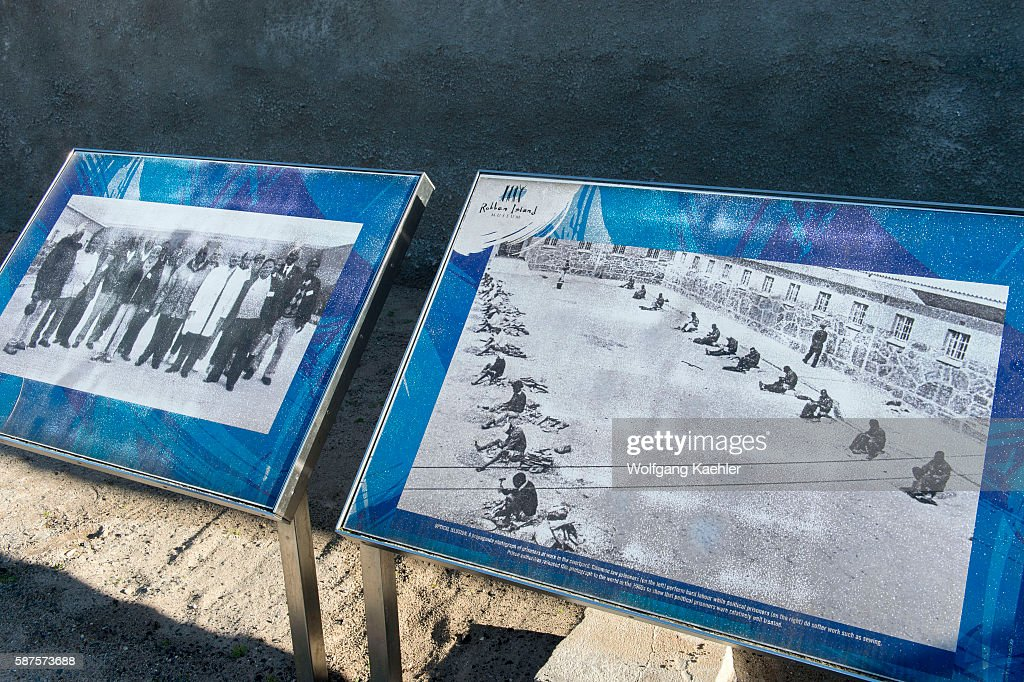 Information sign at the maximum security prison on Robben Island which is an island in Table Bay 69 km west of the coast of Cape South Africa and has...
