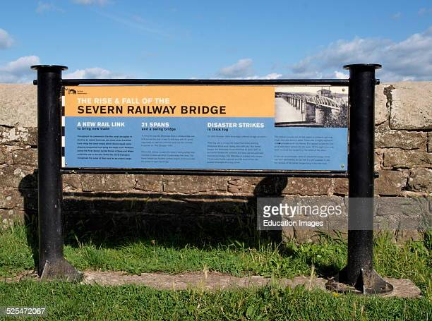 Information sign explaining the Severn and Wye Railway Bridge disaster next to the tower of the swing section over the canal Purton Berkeley...