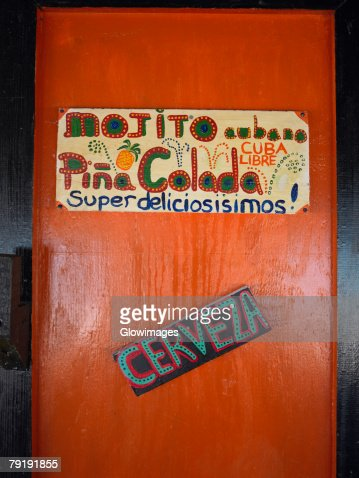 Information sign on the door of a restaurant, Providencia, Providencia y Santa Catalina, San Andres y Providencia Department, Colombia : Stock Photo