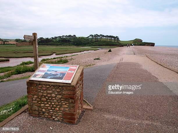 Information sign on the Jurassic coast at Lime Kiln car park end of Budleigh Salterton Devon UK