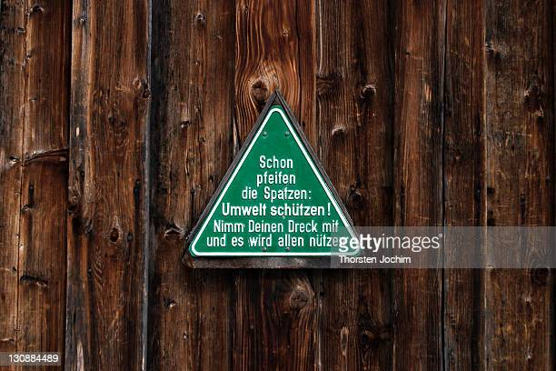 Information sign Protect the Environment in the ski region nearby Obersdorf in Germany