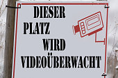 Information sign with inscription in German 'This site is video surveillance'