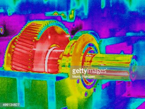 Infra red heat image hot gears in factory