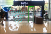 CCTV infrared camera new technology 4.0 signal for Counting number of people in air port area people in lots simple as in red line are signal of counting by CCTV system.