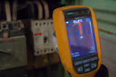 wire and electric circuit breaker with high temperatura detected with infrared thermography camera
