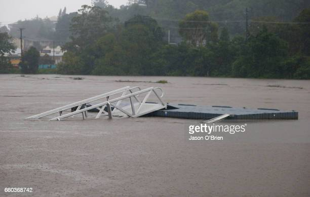 Infrastructure along the tweed river as flood waters rise on March 30 2017 in Murwillumbah Australia Heavy rain and flash flooding is expected in...