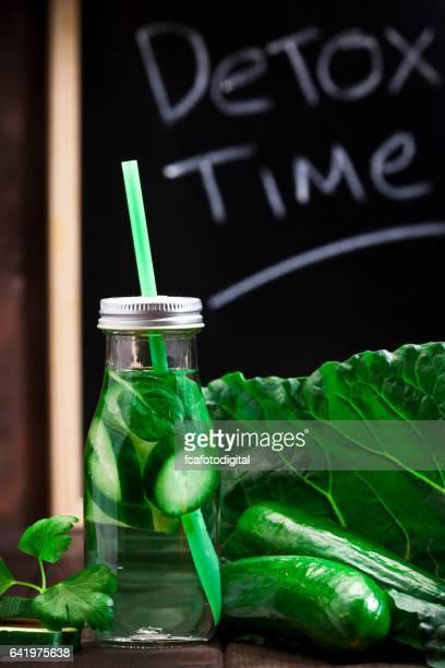 Infused green vegetables water detox drink