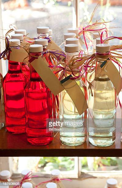 Infused vinegars at farm stand