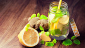 Infused water for detoxing your body with lemons, spearmint, melissa and ginger