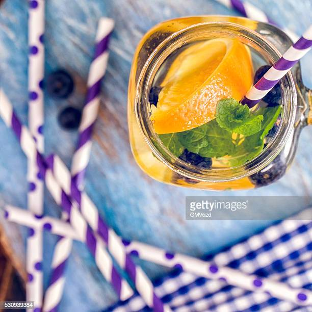 Infused Water with Fresh Blueberries and Oranges