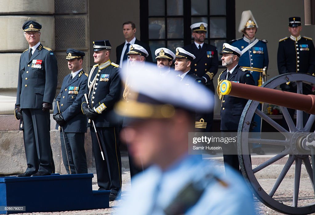 ing Carl Gustaf of Sweden (L) attends the celebrations of the Swedish Armed Forces for the 70th birthday of King Carl Gustaf of Sweden on April 30, 2016 in Stockholm, Sweden.