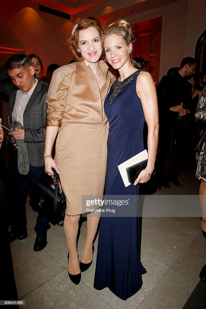 Inga Busch and Nina-Friederike Gnaedig attend the Moet & Chandon Grand Scores 2016 at Hotel De Rome on February 6, 2016 in Berlin, Germany.